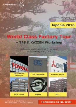 Japonia 2016 - Lean Experience Business Institute