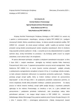 List otwarty KKPS PKP Cargo S.A.