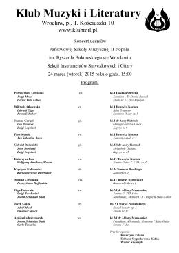 Program  - Klub Muzyki i Literatury