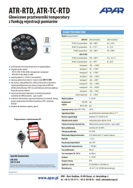 Głowicowe przetwrniki temperatury ATR-RTD, ATR-TC-RTD
