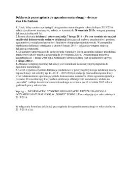 Deklaracja przystąpienia do egzaminu maturalnego – dotyczy klas 4