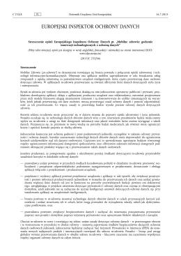 Streszczenie opinii Europejskiego Inspektora Ochrony