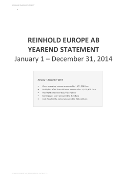 REINHOLD EUROPE AB YEAREND STATEMENT January 1