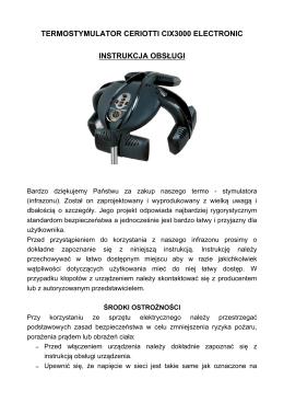 Instrukcja obsługi infrazon Ceriotti CIX3000