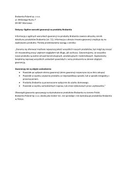 Ogólne warunki gwarancji na produkty Brabantia
