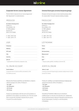 producer producent isl online account konto isl online user użytkownik