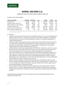 Q4 FY2015 Operations Update