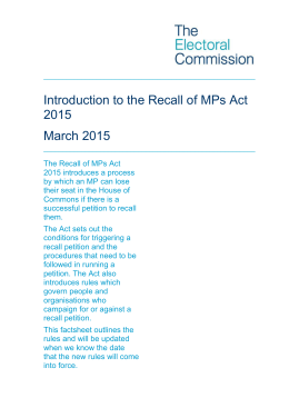 Recall of MPs Act 2015 factsheet