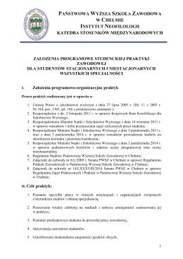 Program praktyki - Państwowa Wyższa Szkoła Zawodowa w Chełmie