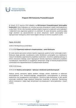 Program XXII Konwentu Przewodniczących