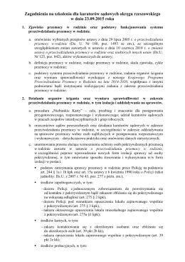 Zagadnienia ze szkolenia dla kuratorów sądowych okręgu