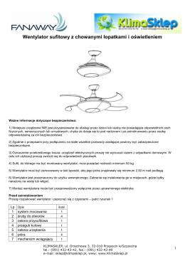 instrukcja montażu Fanaway EVO3pilot