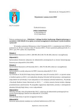 Zakrzówek, dn. 5 listopada 2015 r. Wyjaśnienie i zmiana treści SIWZ