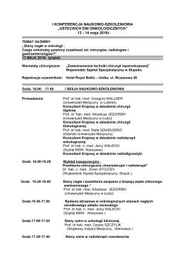 Program I Sesji Naukowo-Szkoleniowej. Pobierz w formacie