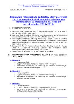 zasady rekrutacji do ix lo na rok szkolny 2015/16