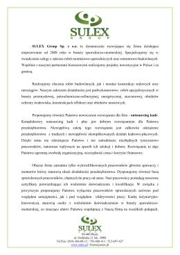 Oferta firmowa - SULEX Group Sp. z oo