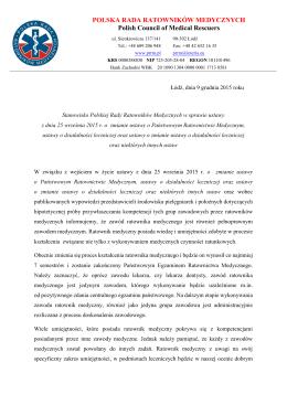 Stanowisko Polskiej Rady Rat.Med. w sprawie