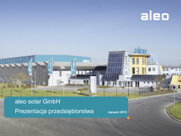 aleo solar GmbH Prezentacja przedsiębiorstwa