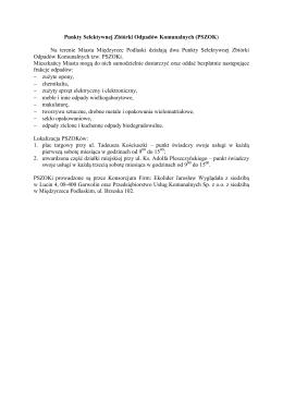 Punkty Selektywnej Zbiórki Odpadów Komunalnych (PSZOK) Na