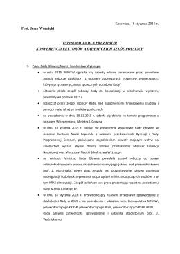 Informacje dla Prezydium KRASP