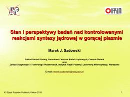 Pobierz wykład [PDF - 8.0MB] - 43 Zjazd Fizyków Polskich, Kielce