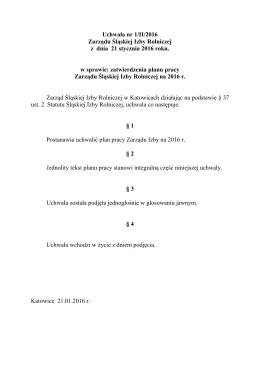 Plan pracy Zarządu Śląskiej Izby Rolniczej na 2016 rok