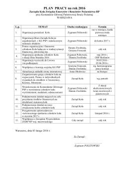 Plan pracy na 2015 rok - Komenda Główna Państwowej Straży