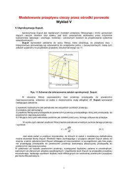 Modelowanie przepływu cieczy przez ośrodki porowate Wykład V