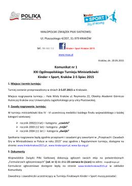 Komunikat nr 1 XXI Ogólnopolskiego Turnieju Minisiatkówki Kinder