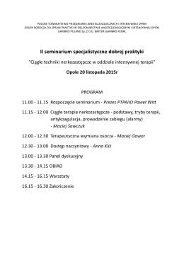 II seminarium specjalistyczne dobrej praktyki