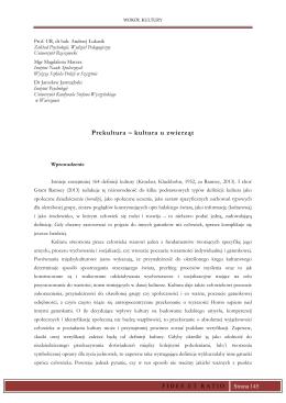 Prekultura – kultura u zwierząt - towarzystwo uniwersyteckie fides et