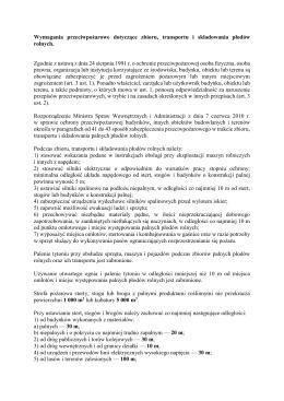 Wymagania przeciwpożarowe dotyczące zbioru, transportu i