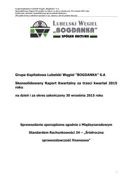 1-3Q 2015 - Lubelski Węgiel Bogdanka