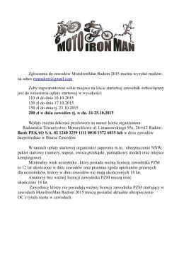 Zgłoszenia do zawodów MotoIronMan Radom 2015 można wysyłać