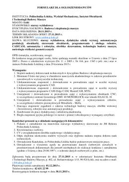 Politechnika Łódzka, Wydział Mechaniczny, Instytut Obrabiarek i