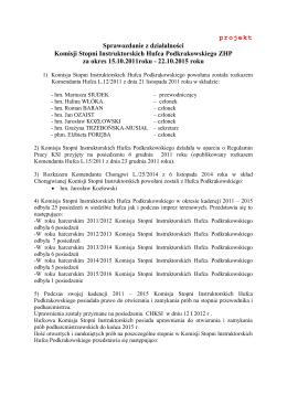 projekt Sprawozdanie z działalności Komisji Stopni Instruktorskich
