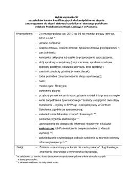 Kursy kwalifikacyjne kandydatów na stopnie zaszeregowane do