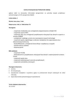 Strona 1 | 2 Centrum Komputerowe Politechniki Łódzkiej