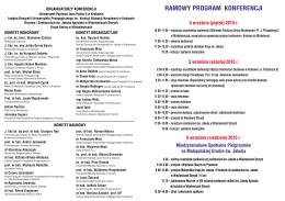 RAMOWY PROGRAM KONFERENCJI - Drogi św. Jakuba w Polsce