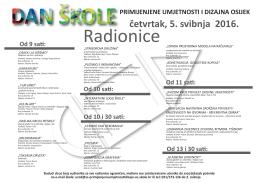 Od 10 sati - Škola primijenjene umjetnosti i dizajna Osijek