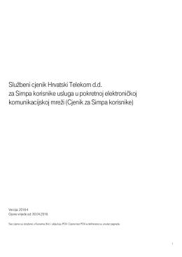 Službeni cjenik Hrvatski Telekom d.d. za Simpa korisnike usluga u