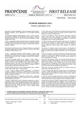 DZS: Putničke agencije u 2015.