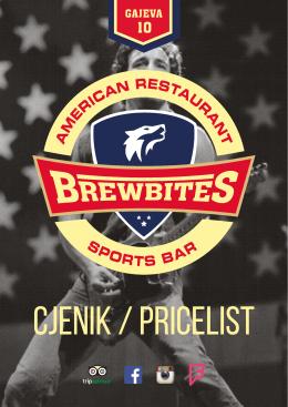 Pricelist - Brewbites - American restaurant / sports bar