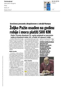 Жељко Пажин осуђен на годину робије и мора платити