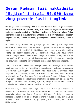 Goran Radman tuži nakladnika `Bujice` i traži 90.000