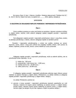 PREDLOG Na osnovu člana 12 stav 1 Zakona o