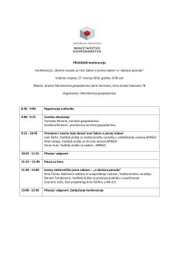 """PROGRAM konferencije Konferencija: """"Novine vezane uz novi"""
