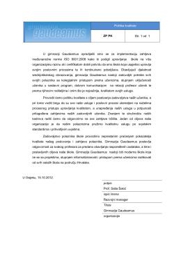 Politika kvalitete ZP PK Str. 1 od 1 U gimnaziji Gaudeamus
