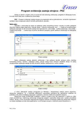 Program evidencije zastoja strojeva - PEZ