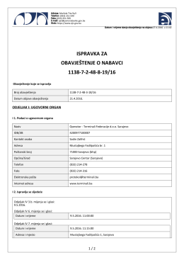 ispravka za obavještenje o nabavci 1138-7-2-48-8-19/16